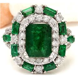 6.90 CTW Natural Emerald 18K Solid White Gold Diamond Ring