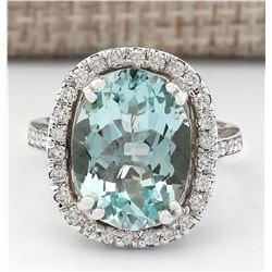 6.80 CTW Natural Aquamarine And Diamond Ring In 18K White Gold