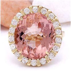15.31 CTW Natural Morganite 18K Solid Yellow Gold Diamond Ring