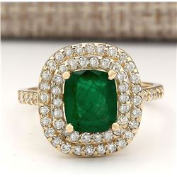 2.88 CTW Natural Emerald And Diamond Ring In 14k Yellow Gold