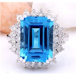 9.10 CTW Natural Topaz 14K Solid White Gold Diamond Ring