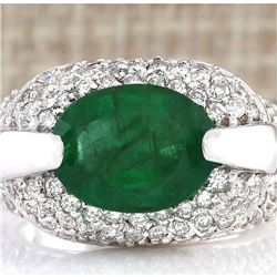 5.08 CTW Natural Emerald And Diamond Ring In 14k White Gold