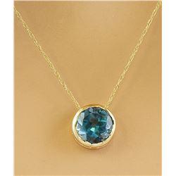 1.50 CTW London Blue Topaz 18K Yellow Gold Necklace