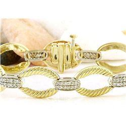 1.00 CTW Natural Diamond 18K Solid Two Tone Gold Bracelet