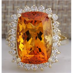 8.87 CTW Natural Citrine And Diamond Ring 18K Solid Yellow Gold