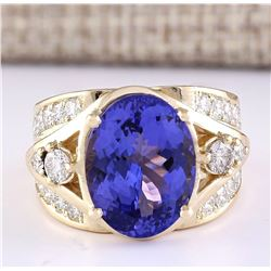 9.39 CTW Natural Tanzanite And Diamond Ring In 18K Yellow Gold