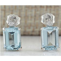 2.06 CTW Natural Aquamarine And Diamond Earrings 14k Solid White Gold