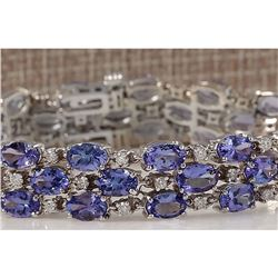 23.85 CTW Natural Tanzanite And Dimond Bracelet In 14k Solid White Gold