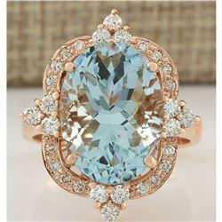 8.27 CTW Natural Aquamarine And Diamond Ring In 18K Rose Gold