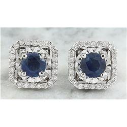 2.65 CTW Sapphire 18K White Gold Diamond Earrings