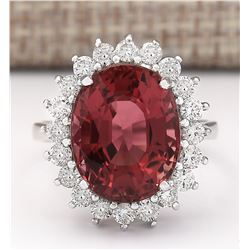 9.85 CTW Natural Pink Tourmaline And Diamond Ring 18K Solid White Gold
