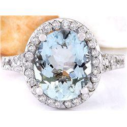 3.68 CTW Natural Aquamarine 18K Solid White Gold Diamond Ring