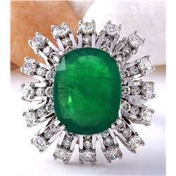 7.68 CTW Natural Emerald 18K Solid White Gold Diamond Ring