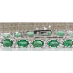 10.17CTW Natural Colombian Emerald And Diamond Bracelet In 14K White Gold