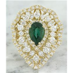 3.41 CTW Emerald 18K Yellow Gold Diamond Ring