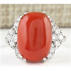 8.86 CTW Natural Coral And Diamond Ring In 18K White Gold