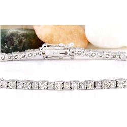 4.07 CTW Natural Diamond 18K Solid White Gold Bracelet