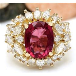 5.43 CTW Natural Rubelite 14K Solid Yellow Gold Diamond Ring