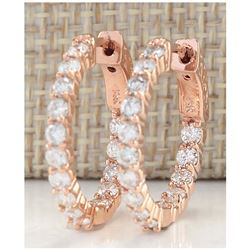 2.00 CTW Natural Diamond Hoop Earrings 14K Solid Rose Gold