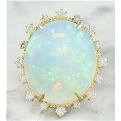 13.95 CTW Opal 14K Yellow Gold Diamond Ring