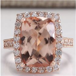 7.12 CTW Natural Peach Morganite And Diamond Ring In 14K Solid Rose Gold