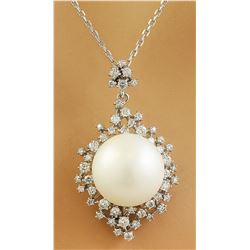 1.10 CTW 14.85mm Pearl 18K White Gold Diamond Necklace