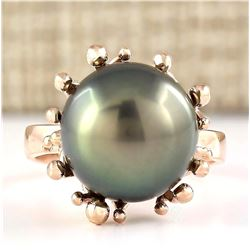 Natural 12.45mm Black Pearl Ring 18K Rose Gold