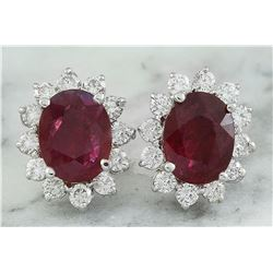 4.31 CTW Ruby 18K White Gold Diamond Earrings