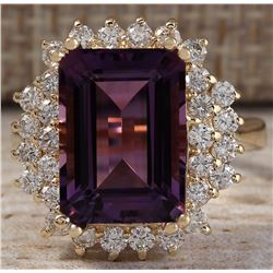 7.53CTW Natural Amethyst And Diamond Ring In 14K Solid Yellow Gold
