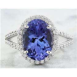 6.10 CTW Tanzanite 18K White Gold Diamond Ring