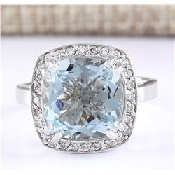 4.63 CTW Natural Aquamarine And Diamond Ring In 18K White Gold