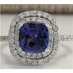 2.95 CTW Natural Tanzanite Diamond Ring 18K Solid White Gold