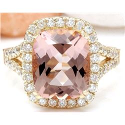 4.63 CTW Natural Morganite 14K Solid Yellow Gold Diamond Ring