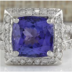 9.10 CTW Natural Blue Tanzanite And Diamond Ring 18K Solid White Gold