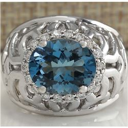 3.95 CTW Natural London Blue Topaz And Diamond Ring In 14K White Gold