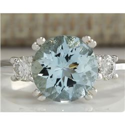 2.33 CTW Natural Aquamarine And Diamond Ring In 18K Solid White Gold