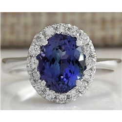 2.45 CTW Natural Tanzanite Diamond Ring 14K Solid White Gold
