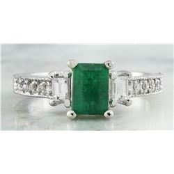 1.50 CTW Emerald 18K White Gold Diamond Ring