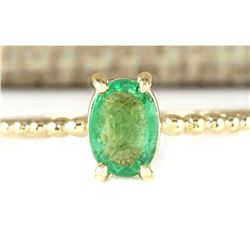 0.80 CTW Natural Emerald Ring In 18K Yellow Gold