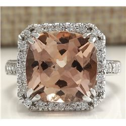 7.81 CTW Natural Peach Morganite And Diamond Ring In 18K Solid White Gold