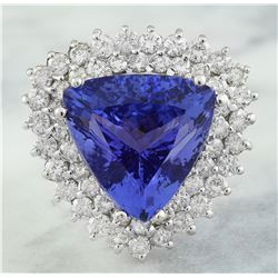 12.72 CTW Tanzanite 14K White Gold Diamond Ring