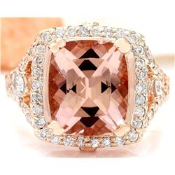 6.34 CTW Natural Morganite 18K Solid Rose Gold Diamond Ring