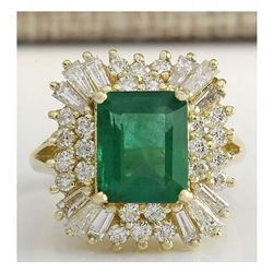 6.11 CTW Natural Emerald And Diamond Ring 18K Solid Yellow Gold