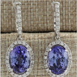 12.15 CTW Natural Tanzanite And Diamond Earrings 18K Solid White Gold