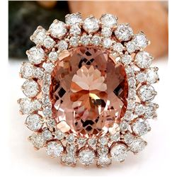 13.36 CTW Natural Morganite 14K Solid Rose Gold Diamond Ring
