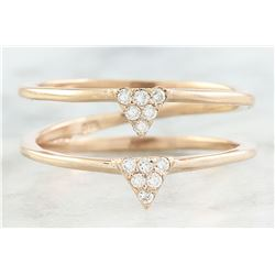 0.12 CTW Diamond 18K Dual Triangle Rose Gold Ring