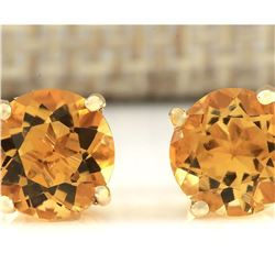 3.00 CTW Natural Citrine Earrings 18K Solid Yellow Gold