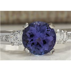 2.20 CTW Natural Blue Tanzanite And Diamond Ring In 14K White Gold