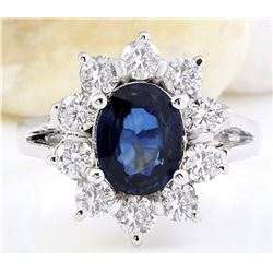 2.38 CTW Natural Sapphire 18K Solid White Gold Diamond Ring