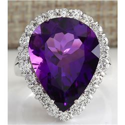 10.56 CTW Natural Amethyst And Diamond Ring In 18K Solid White Gold